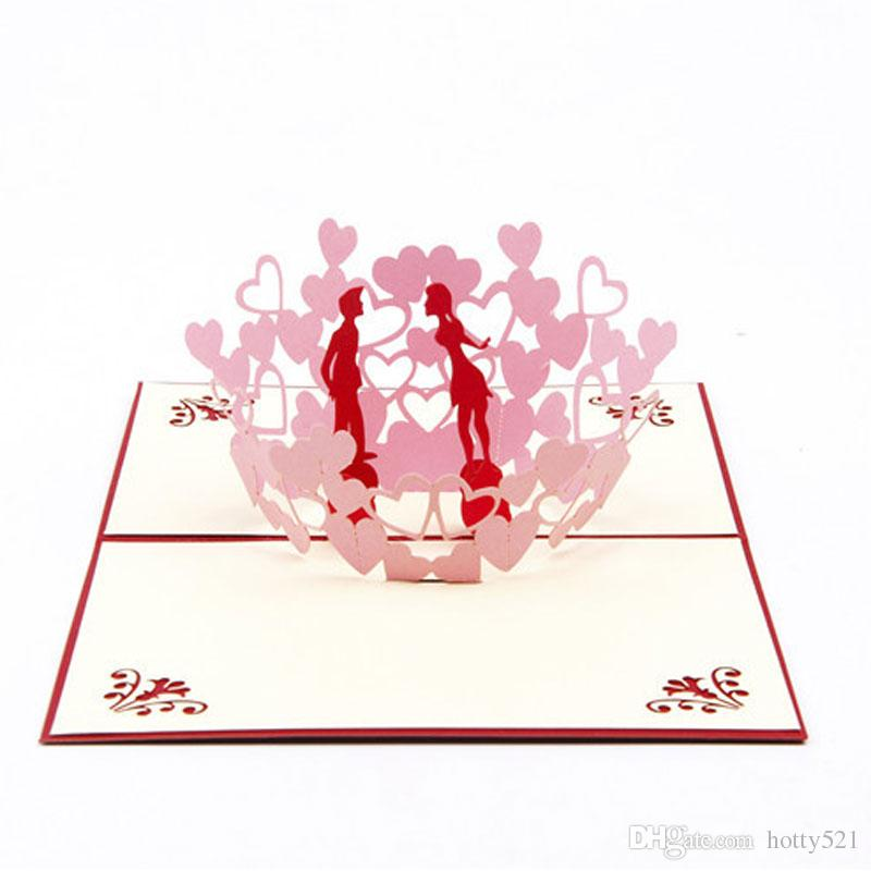 3D Laser cut Gift & Greeting Card With Lover & Heart for Valentine Day Sweet Loves' Gift Free Shipping