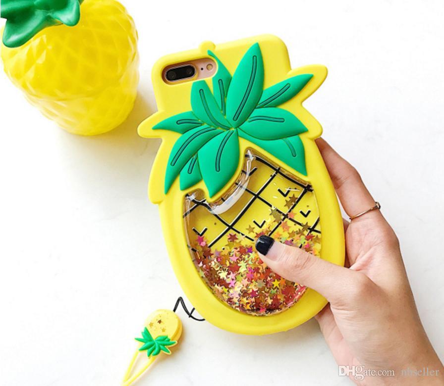 3d Cute Pineapple Glitter Liquid Quicksand Silicone Case Cartoon Stars Sparkle Soft Silicon