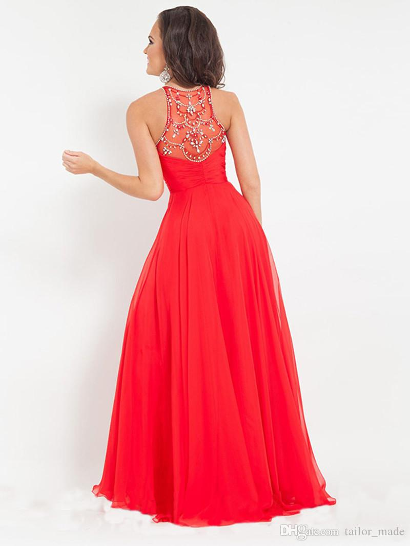 2019 Long Evening Dresses Scoop Neck A Line skirts with Beaded formal prom gowns vestidos de noiva
