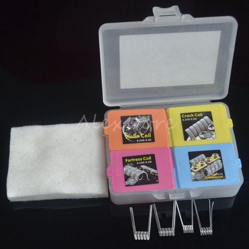 Tournament Coil Box Kit 4 in 1 Heating Premade Wire Fortress Violin Centipede Crack Coil Cotton Prebuilt Wires /box for Vape RDA