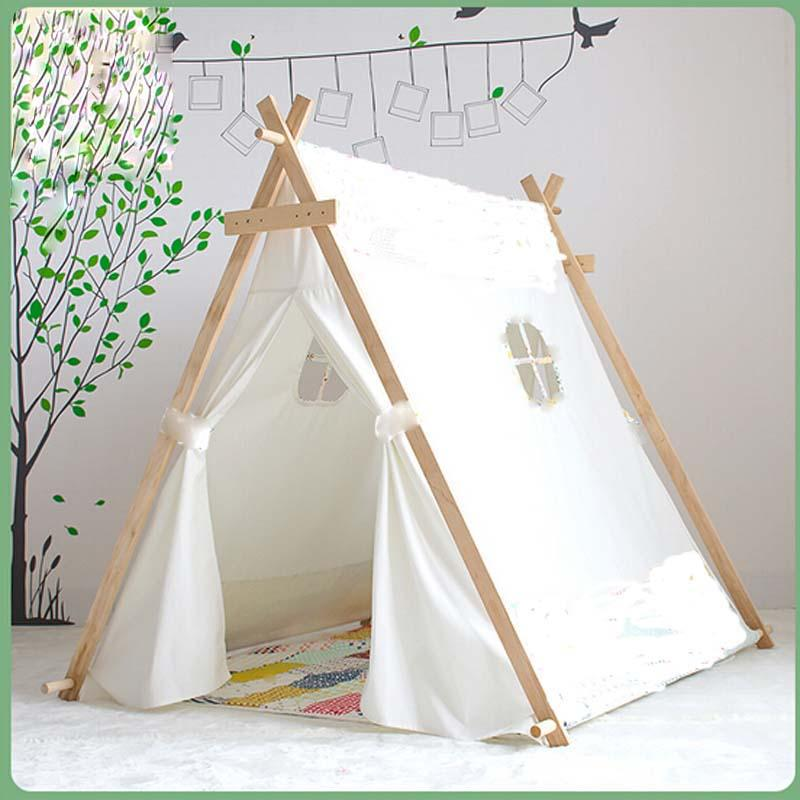 See larger image  sc 1 st  DHgate.com & Wholesale Lovely Kid Play Tent White Fabric Teepee Children Bed ...