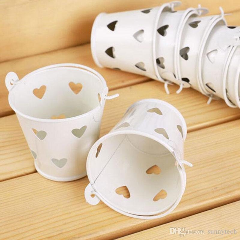 Secchi di caramelle Tin Tin multi colore con secchi cuori di nozze secchi secchiello in metallo zucchero scatola decorazione favore di partito ZA1379