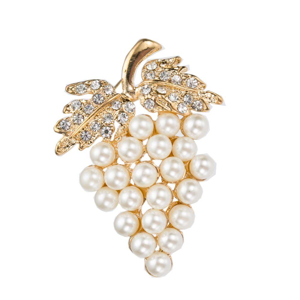 Diamante plateado plata diamante Crema perla pin forma de uva en forma de broche