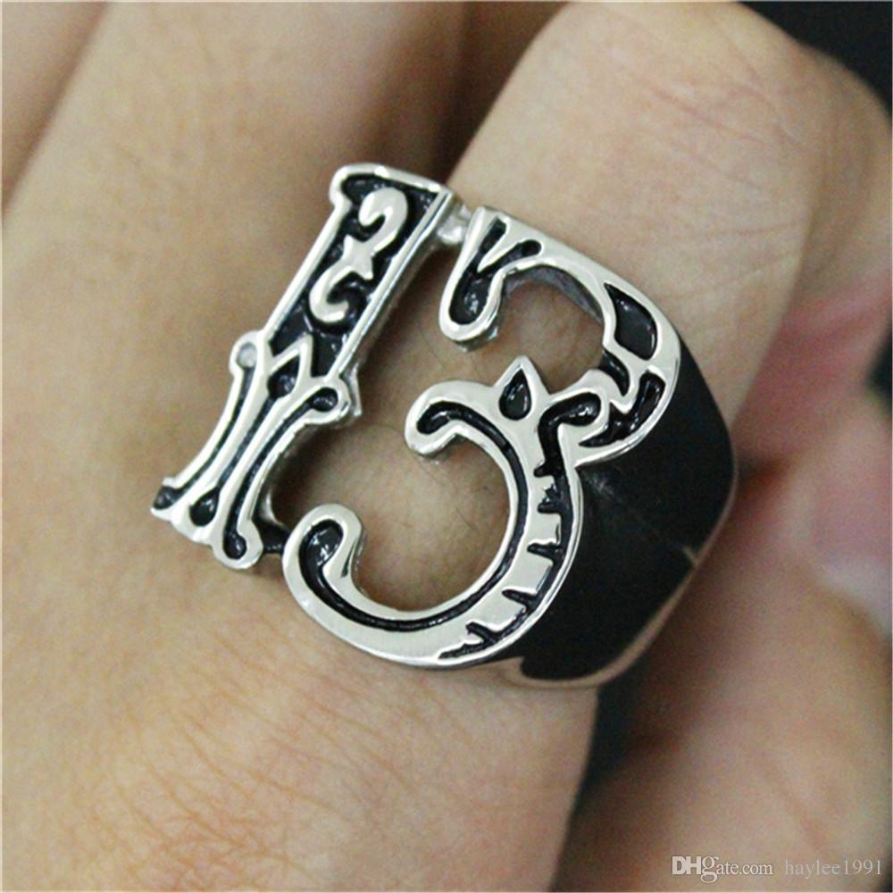 3 unids / lote Nuevo Diseño Número 13 Anillo Fresco Joyería de Moda de Acero Inoxidable 316L Band Party Biker Style Ring