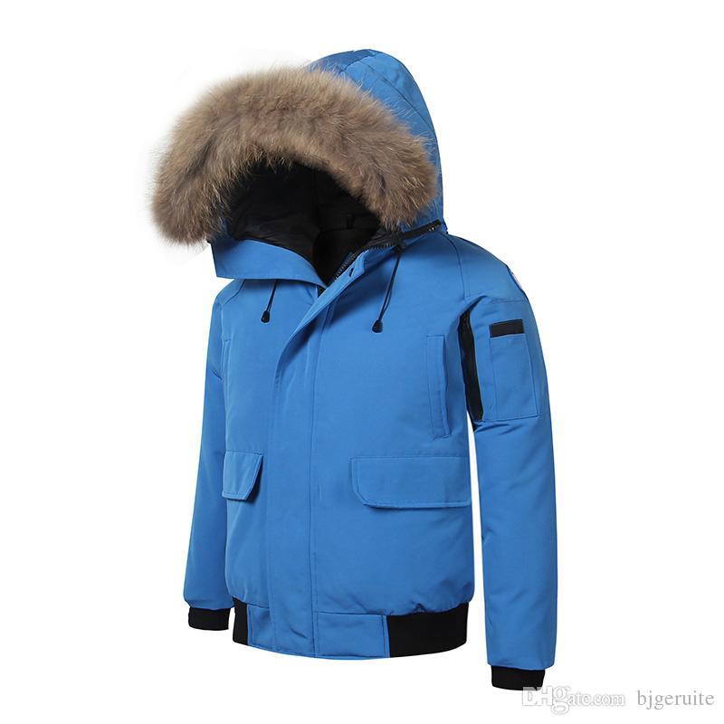 2018 Brand New waterproof windbreaker Mens BOMBER PARKA raccoon fur real feather down short Winter Warm coat