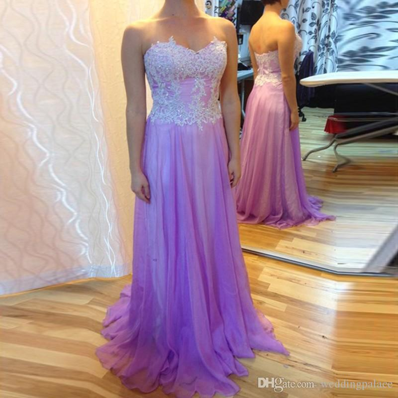 Compre Simple Lavanda Gasa Vestidos De Dama De Honor Apliques De ...