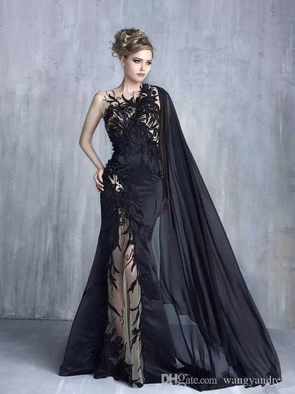 2017 Fashion Unique Sexy Black Embroidery Lace Evening Dress Applique With Cape Illusion Tulle Beaded Celebrity Dress Prom Gown
