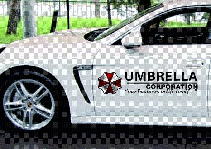 Umbrella corporation resident evil zombie logo car stickers vinyl reflective materials creative decoration decal side door body from china car