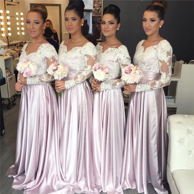 White Lace Pink Satin Popular Elegant Bridesmaids Dresses 2017 ...