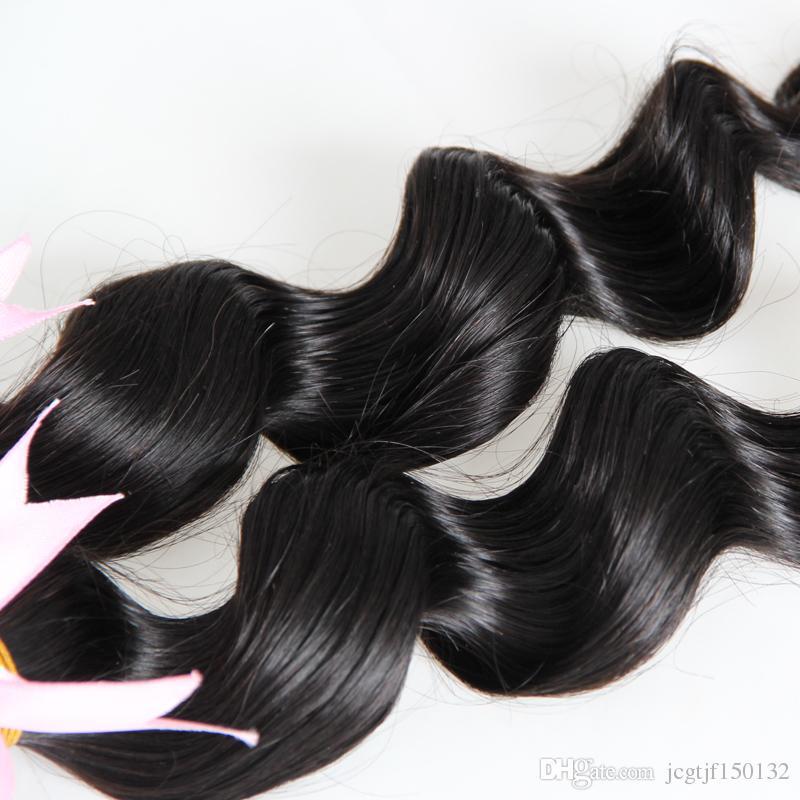 Brezilyalı saç örgü demetleri Gevşek dalga demetleri 200g İnsan Saç Uzantıları Doğal Siyah 2 Parça