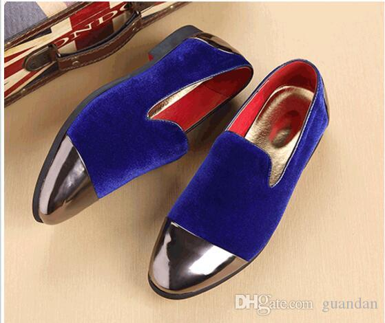 2018 Trendy British Designer Men pointed tassel BLue Homecoming party dress oxford wedding shoes flats loafers male moccasins DHA33
