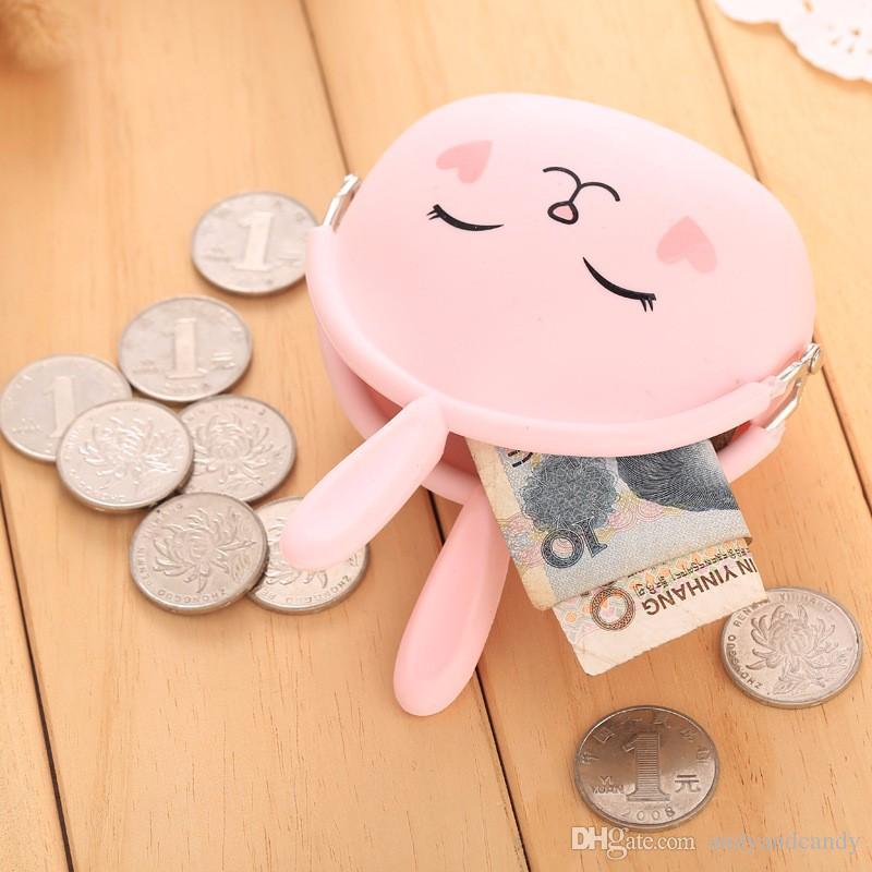 2017 Nouveau Mode Porte-Monnaie Belle Kawaii Cartoon Lapin Pouch Femmes Filles Petit Portefeuille Doux Silicone Coin Sac Enfant Cadeau