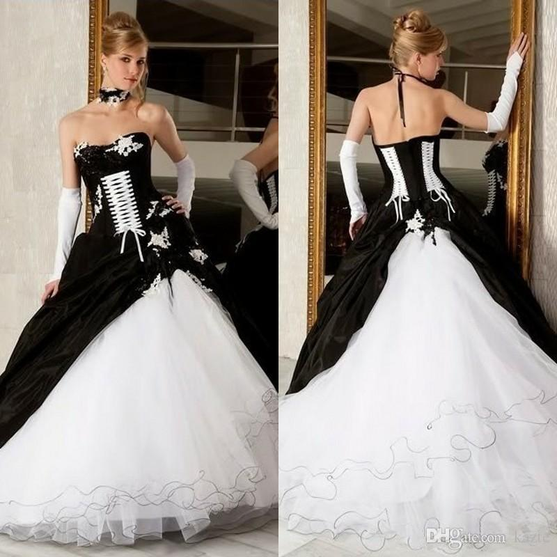 Black And White Ball Gowns Castle Wedding Dresses 2017 Hot Sale ...