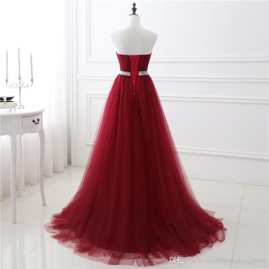 Nouveau En Stock A-ligne Doux Tulle Robe De Bal Rouge Foncé Perlant À La Main Robes De Soirée Sexy Bandage Robe De Fête Longue robe de fête