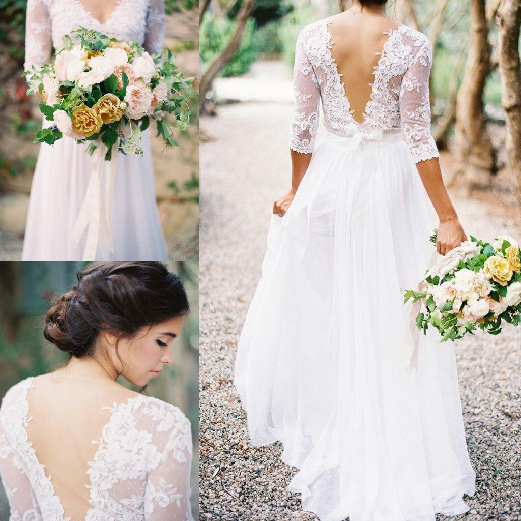 Cheap Bohemian Wedding Dresses Lace Applique V Neck 3 4 Long Sleeves Low Back A Line Lace Chiffon Bridal Wedding Gowns Plus Size