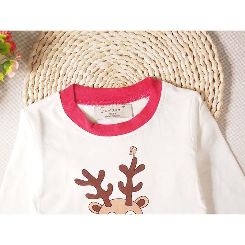 Weihnachten Baby Kinder Langarm Pyjamas Weihnachtsmann Elch Gedruckt Nachtwäsche Sets Top Hosen 3 Farbe 5 Größe