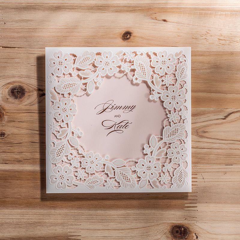 Wholesale Laser Cut Wedding Invitations Cheap Hollow Flower Wedding  Invitations Cards Sets Wedding Accessories Cpa830 Wedding Invitations  Pocket Wedding ...