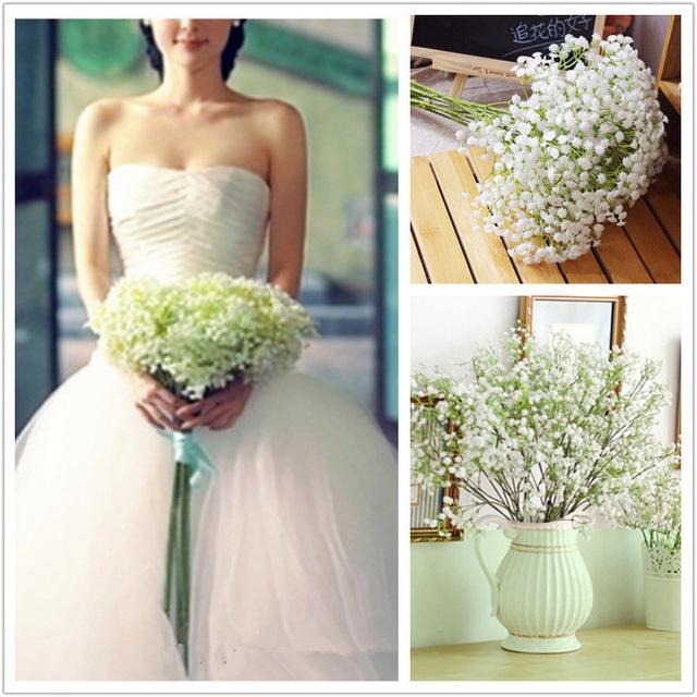 17 inch[45CM] Artificial PU Gypsophila Bridal Bouquet Wedding Flowers Fake Babysbreath Flowers Christmas Party Decoration Bouquet