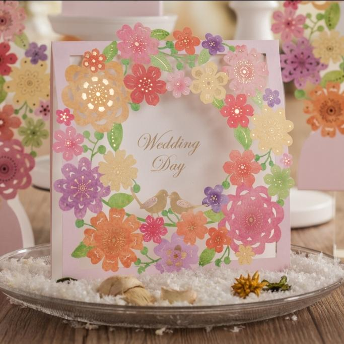 Wholesale Colorful Flower Square Wedding Invitations Handmade Laser Cut Printable Greeting Birthday Card Supplies CW6053 Free