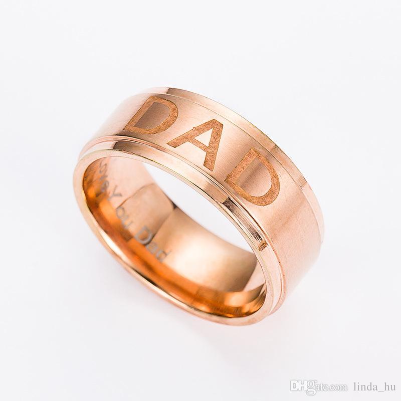 L'Europa e gli Stati Uniti che vendono l'anello d'acciaio inossidabile dell'anello dell'anello del DAD dell'anello classico degli uomini d'acciaio di titanio regalo del padre