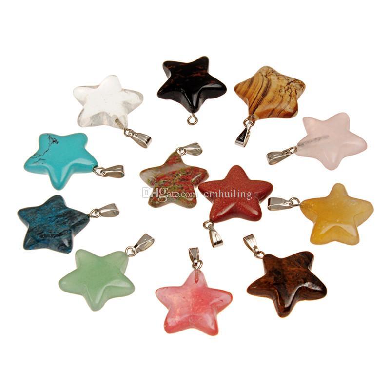 Amulett Magie Fünfzackiger Stern Kristall Blauer Goldsteinachat Besondere Glücksbringer für Halsschmuck Geschenk und dekorativen Weihnachtsbaum