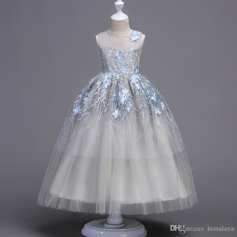 2017 crianças longo da noite vestidos de princesa festa de crianças roupas de bebê meninas de alta qualidade roupas da criança vestido de baile vestido para 120-180 cm