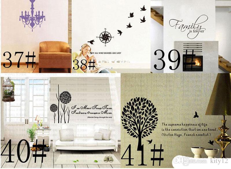 180 stili Nuovo vinile rimovibile Lettering Quote Stickers murali Home Decor Sticker Mordern arte murale bambini vivaio soggiorno