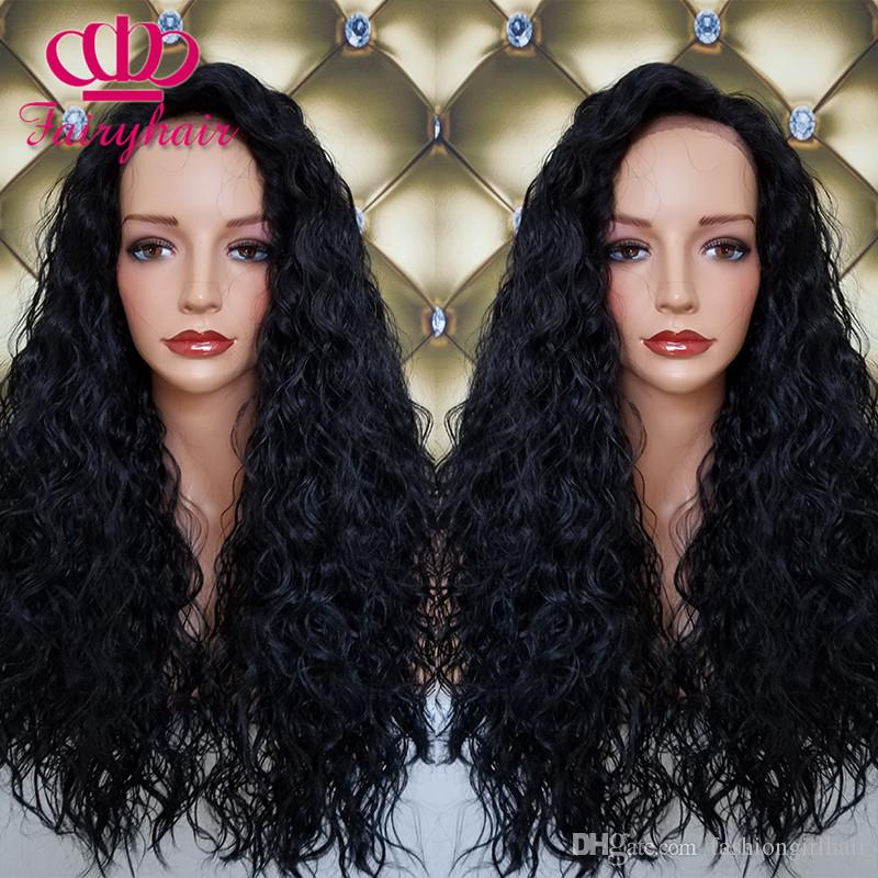 Black Brown Long Cheap Synthetic Lace Front Wig loose curly wig Heat Resistant Hair For Black Women Fast Shipping
