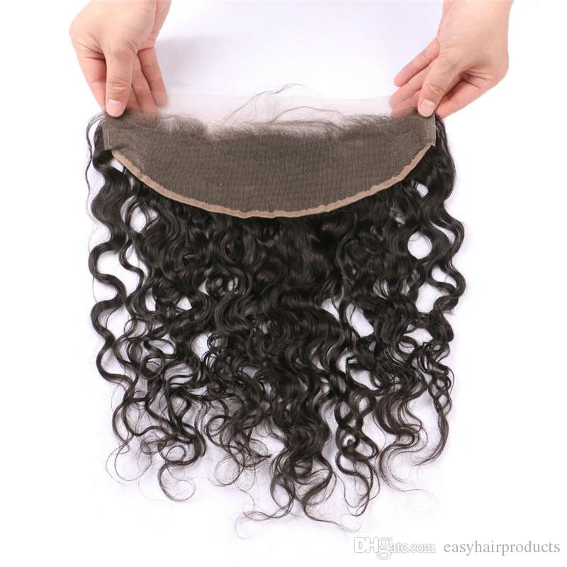 Brazilian Virgin Hair With Lace Frontal Closure Natural Black Water Wave Human Hair Bundles With Frontal