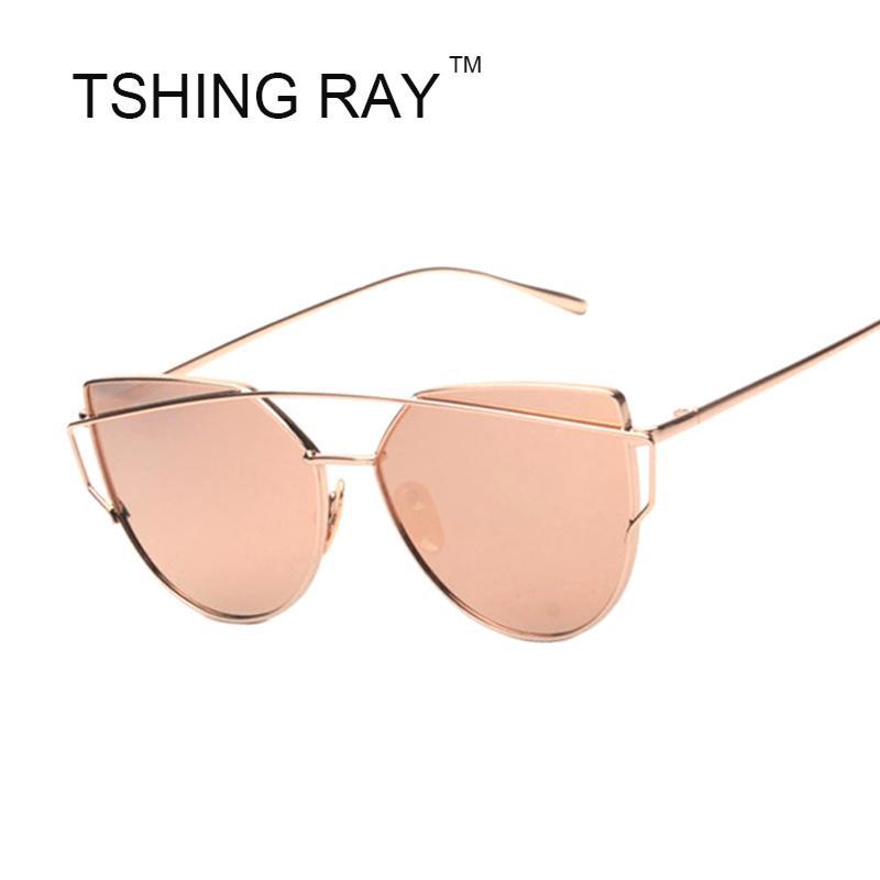 Compre Atacado 2016 Novas Mulheres Rosa Pink Cat Eye Óculos De Sol Moda  Feminina Marca Twin Vigas Frame Da Liga Espelho Óculos De Sol Para Feminino  Oculos ... 91dbf2a0c0