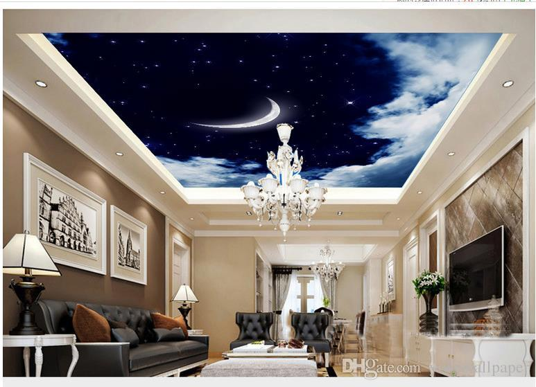 Neue benutzerdefinierte 3D schöne 3D weiße Wolken Himmel Mond Wohnzimmer Decke Decke Decken 3D Tapete