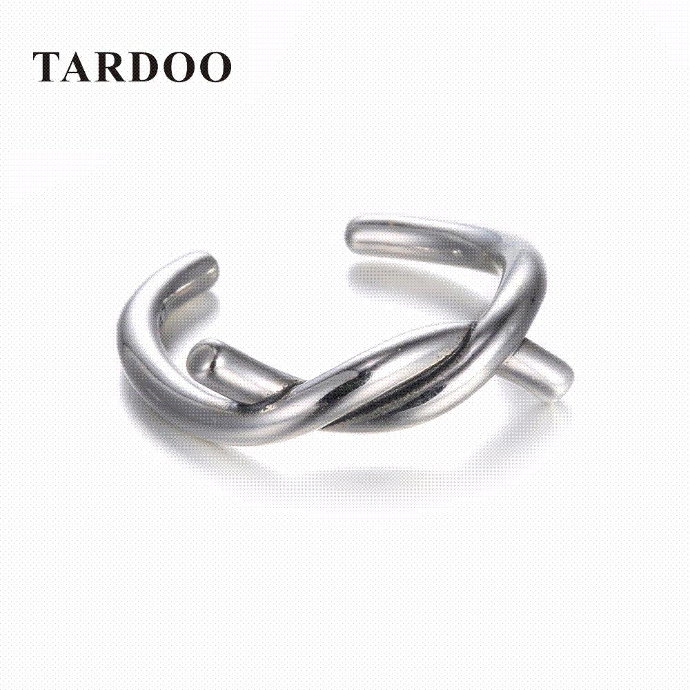 TARDOO 925 Sterling Silver Wave Open Simple Adjustable Ring Fashion Charm Cuff Jewellery for Women Mix Match ips9J
