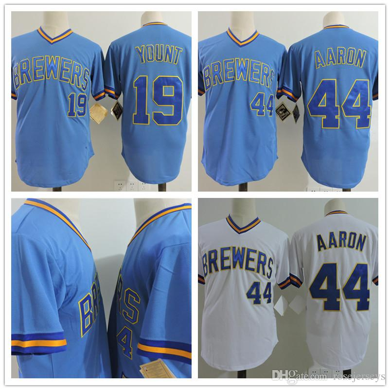 uk availability d84be 8f72b milwaukee brewers 19 robin yount light blue pullover ...