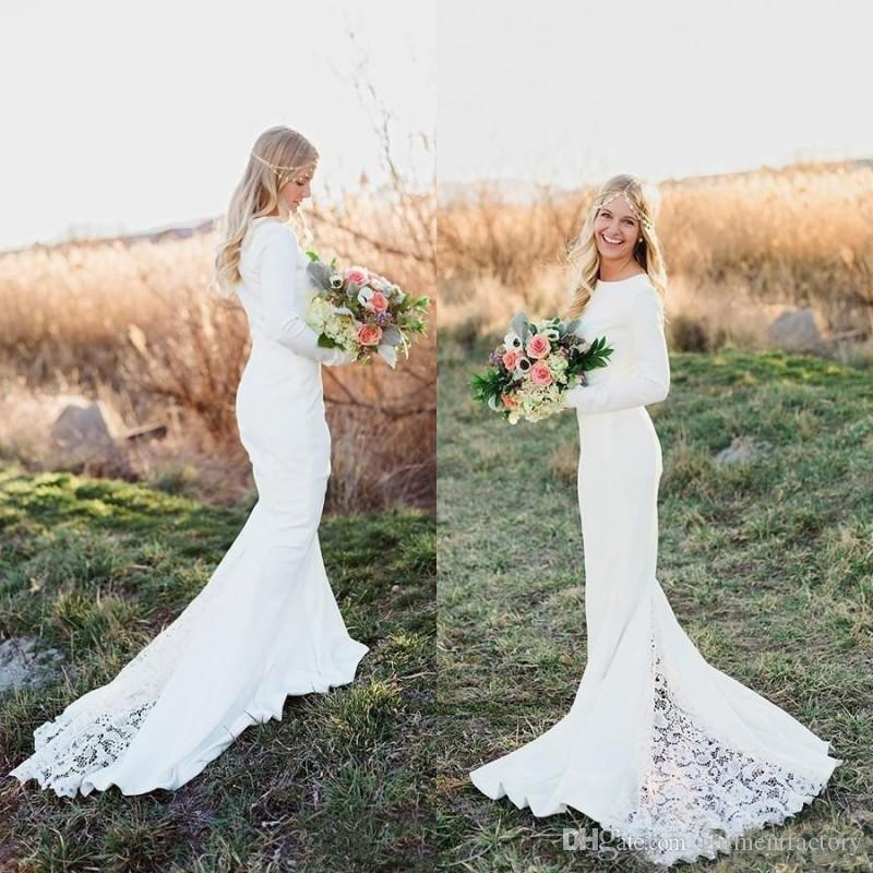 Spring 2017 Bohemian Mermaid Wedding Dresses Jewel Neck Fit And ...