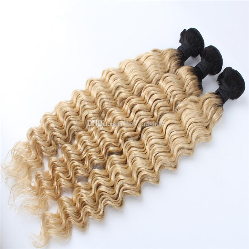Indian Virgin Hair Deep Wave Ombre Human Hair Extensions Two Tone 1B 613 Blonde Ombre Curly Hair Bundles