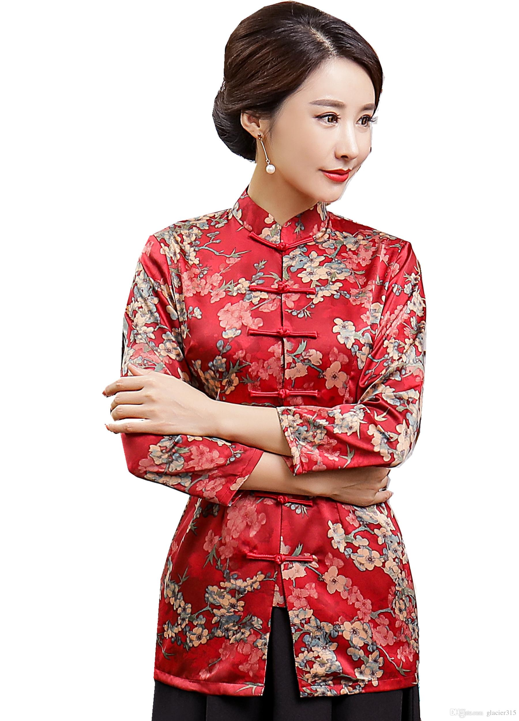 c586c0ba722e7 2019 Shanghai Story 3 4 Sleeve Chinese Traditional Summer Top Vintage Women  Faux Silk Blouse Shirt Chinese Blouses For Lady Hanfu Tops From Glacier315