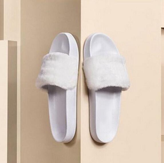 87cb3db11 Leadcat Fenty Rihanna Shoes Women Slippers Indoor Sandals Girls Fashion  Scuffs Pink Black White Grey Fur Slides Without Box With Dust Bag Over The  Knee ...