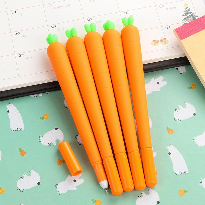 Wholesale-1 PCS Creative Cute Black Refill Neutral Pen Stationery Korean Personalized Signature Gel Pens Student Carrot Water-Based Pen