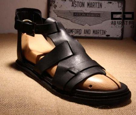 Popüler Stil Cut Outs Erkekler Ayak Bileği Toka Gladyatör Açık Ayak Sandalet Düz Topuk Sandalet Satışa Erkekler Moda Marka Sıcak Tasarım ...