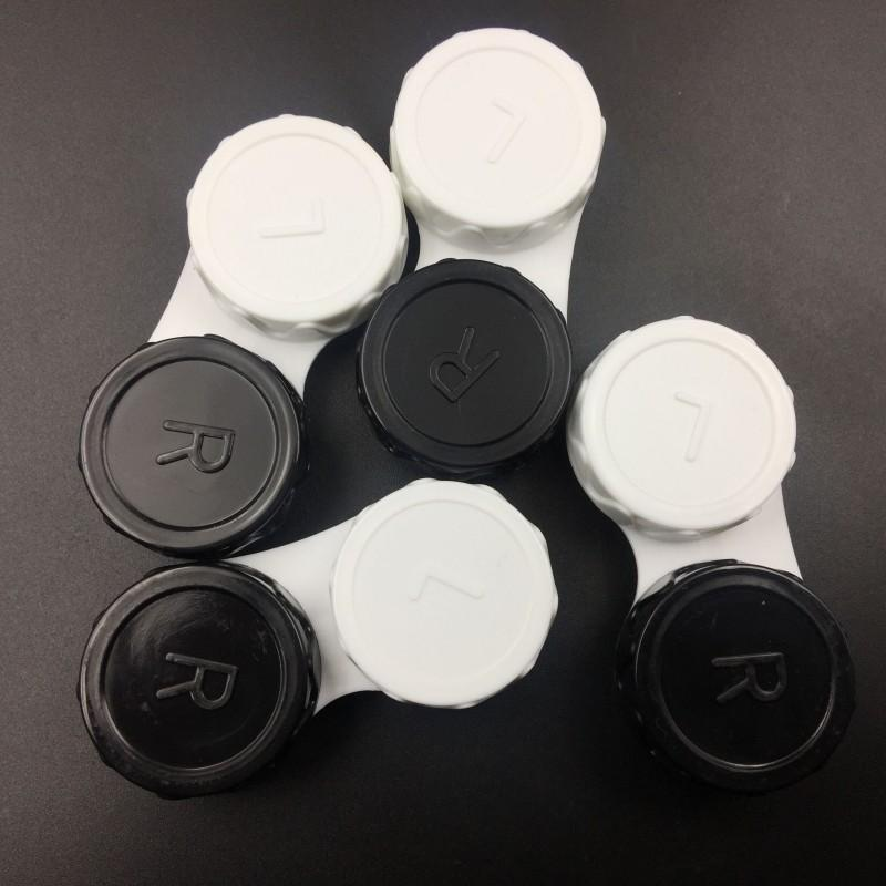 Caja de almacenamiento de lentes de contacto Fahion Kit Mate Lente doble Caja L y R tapa