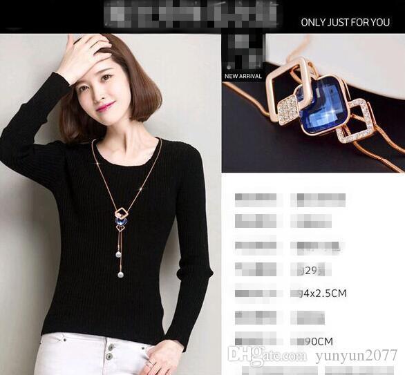 Korean Fashion Einzigartige Inspiration Zubehör Schmuck Kristall Geometrische Platz Anhänger Echt Vergoldung Charme Pullover Halsketten Für Frauen