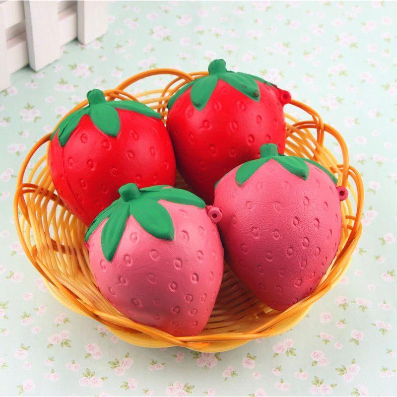 New PU 8cm New Cute cartoon strawberry squishy charm / PU mobile phone strap Charms Pendant Bread Kids Toy