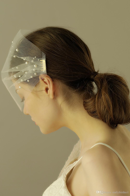 2018 Nueva boda blanca velos Blusher velos con perlas velos para novia con peine CPA966 envío gratis