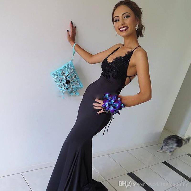 Sexy Dark Navy Prom Dress Mermaid Long Night Gown Appliques Floor Length Custom Made Party Dresses Open Back