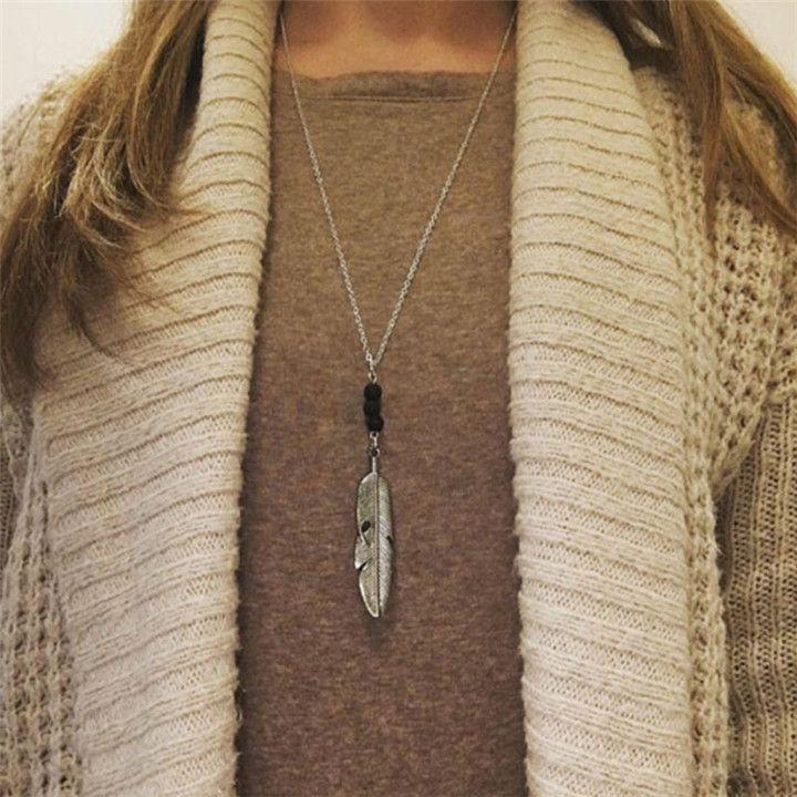 Wholesale Vintage Lava Rock Bead Feather Leaves Tassel