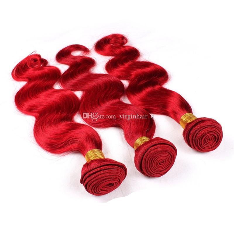 Rihanna Charming Red Farbe Reine Haareinschlagfaden-Erweiterungen 9A Malaysische Körperwelle Welliges Menschenhaar-Weaving Bundles