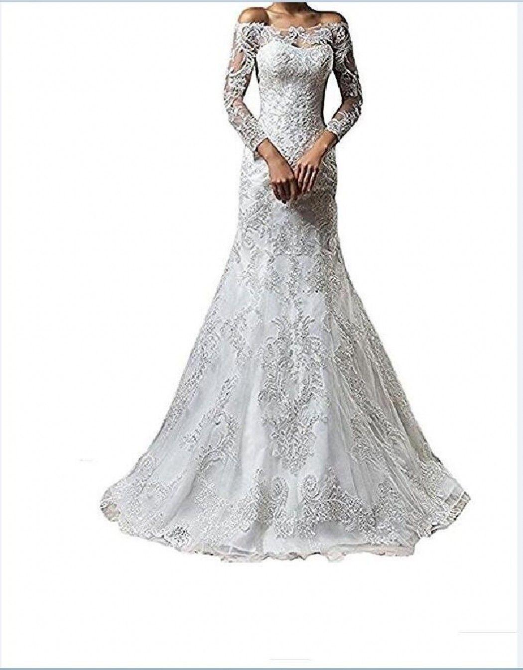 Vintage Bateau Neck Lace Long Sleeve Wedding Dresses With Detachable Skirt Plus Size Illusion 2018 Train vestido de noiva Bridal Gown Ball