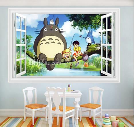 3d Cartoon Totoro Spirited Away Wall Sticker For Kids Room Boys Bedroom  Walldecals Window Poster 3d Ca Wallpaper Free Shiping Circle Wall Decals  Circle Wall ...