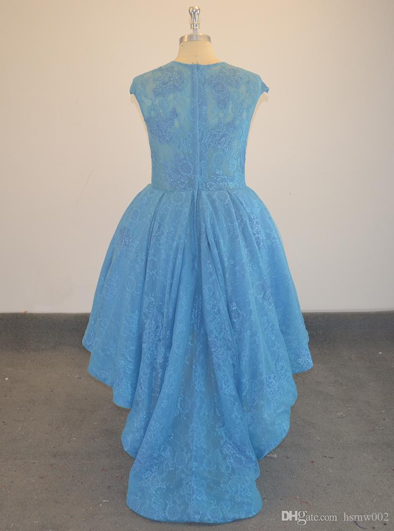 Real Sample Blue Lace High Low Prom Dresses Sexy Illusion Short Front Long Back Formal Prom Party Gown Custom Made China