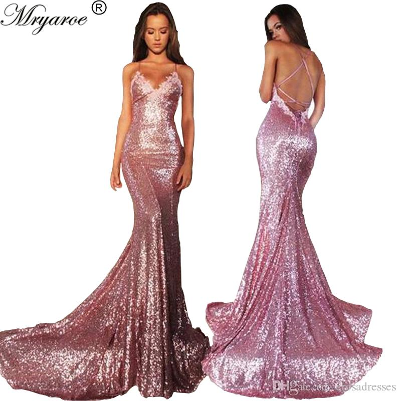 Mryarce Rose Pink Glitter Sequined Stretchy Mermaid Prom Dresses